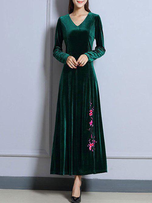Outfit Velvet Long Sleeve Maxi Prom Evening Dress