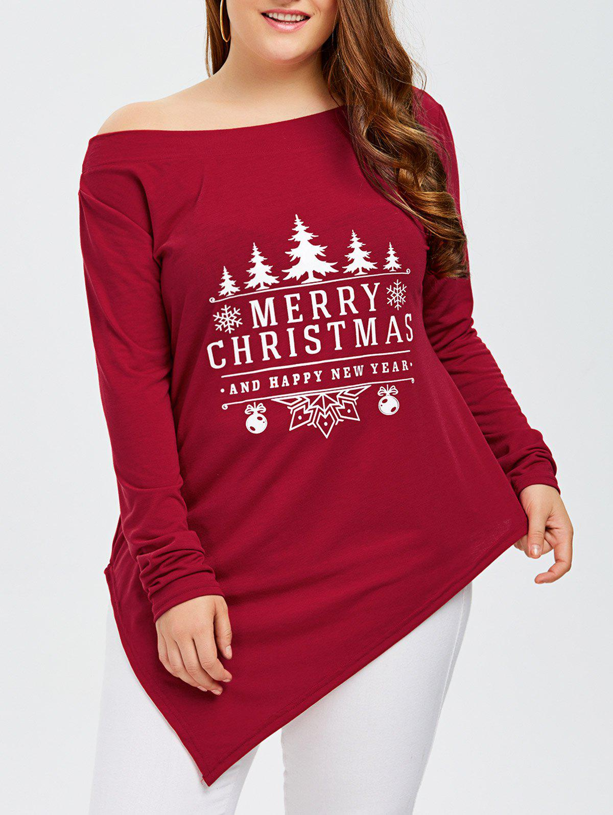Plus Size Merry Christmas Print Asymmetric TeeWOMEN<br><br>Size: 3XL; Color: RED; Material: Cotton,Polyester; Shirt Length: Long; Sleeve Length: Full; Collar: Skew Collar; Style: Casual; Season: Fall,Spring; Pattern Type: Letter; Weight: 0.350kg; Package Contents: 1 x Tee;