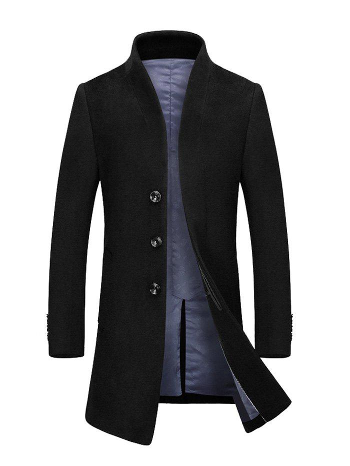 Outfits Stand Collar Single Breasted Wool Blend Coat