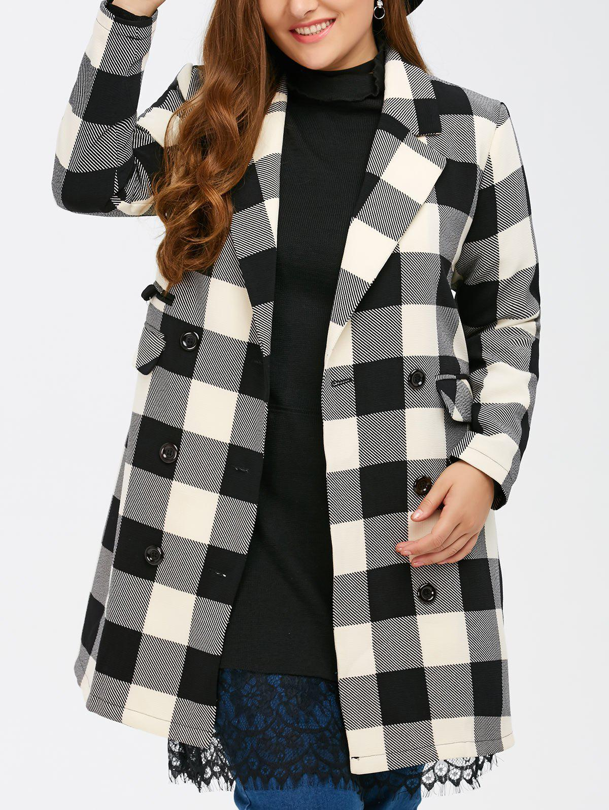 Chic Plus Size Tartan Plaid Double Breasted Coat