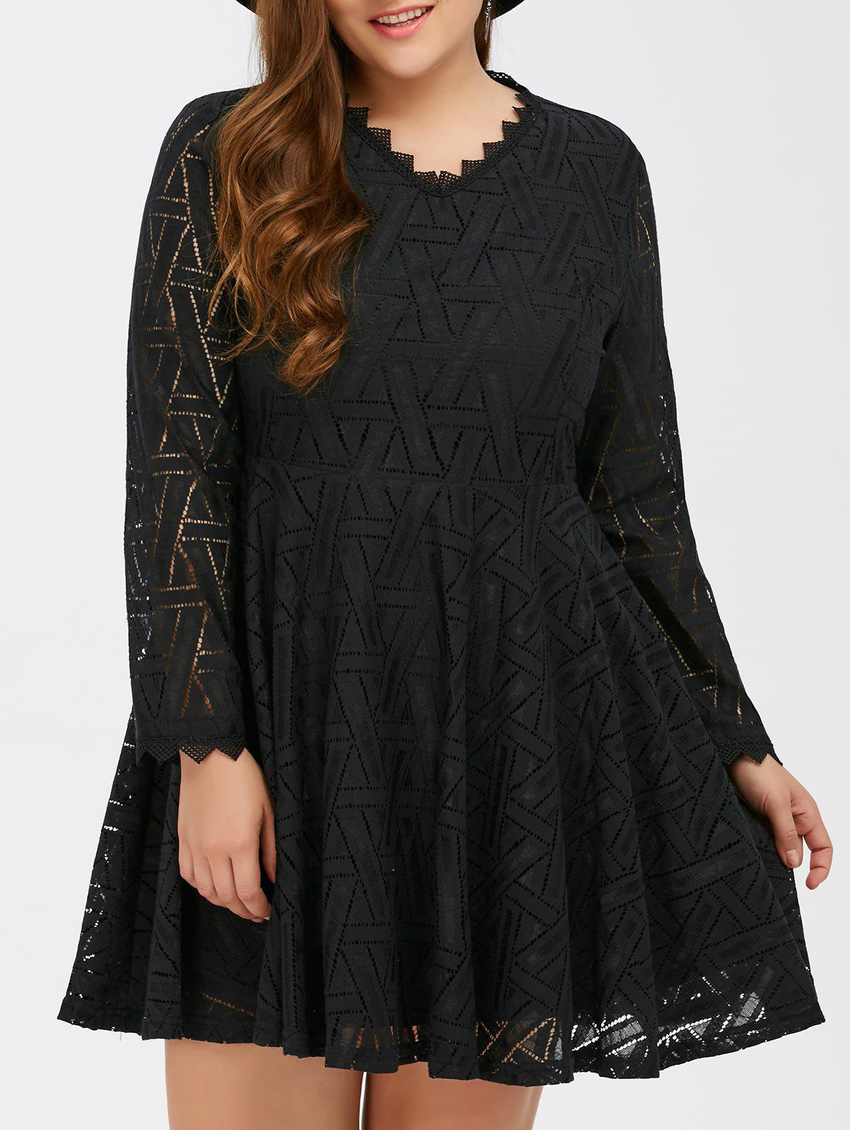 2019 Plus Size Lace Long Sleeve Skater Dress | Rosegal.com