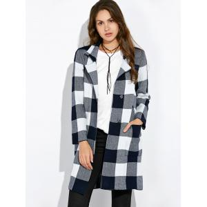 Pocket Plaid Woolen Coat -
