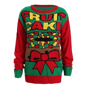 Christmas Fruit Cake Pattern Plus Size Sweater - Red And Green - Xl