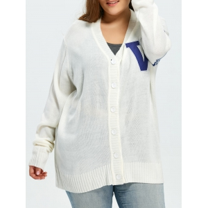 Plus Size Stripes V Pattern Long Sleeve Cardigan - White - 2xl