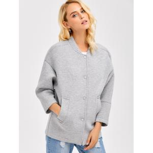 Drop Shoulder Buttoned Pocket Design Coat - GRAY XL