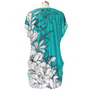 Short Sleeve Casual Floral Print Loose-Fitting T-Shirt - WHITE/GREEN ONE SIZE