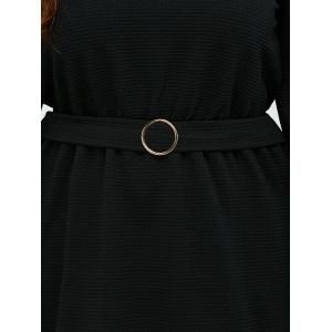 Puff Sleeves Buckle Fit and Flare Dress -