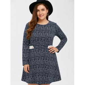 Linellae Print Epaulet Knitted Swing Dress - PURPLISH BLUE 5XL