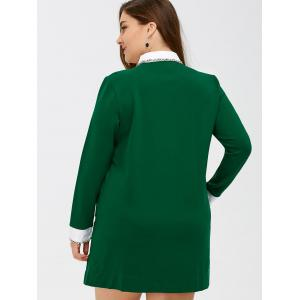 Side Slit Panel Fringed Shift Dress - GREEN 5XL