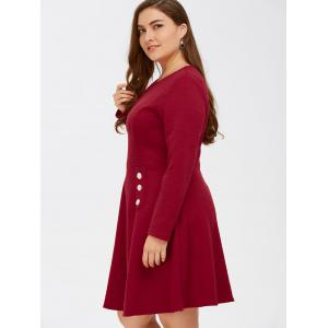Grid Buttoned Fit and Flare Dress - RED 5XL