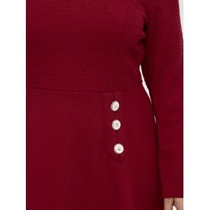 Grid Buttoned Long Sleeve Fit and Flare Dress - RED 5XL