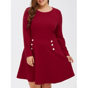 Grid Buttoned Long Sleeve Fit and Flare Dress