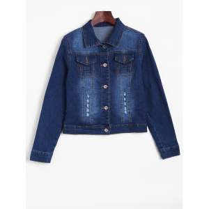 Distressed Faded Cropped Casual Denim Jacket