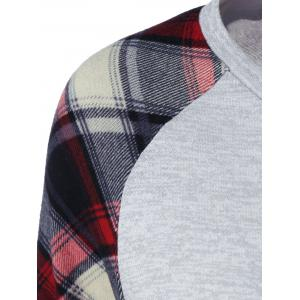 Raglan Sleeve Plaid Trim Tee - LIGHT GREY M