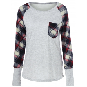 Raglan Sleeve Plaid Trim Tee