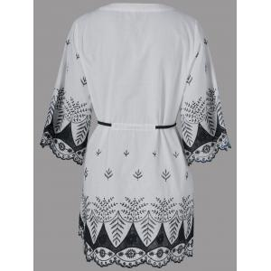Embroidery Drawstring Scalloped Dress - WHITE XL