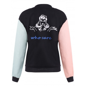 Color Block Girl Graphic Bomber Jacket -