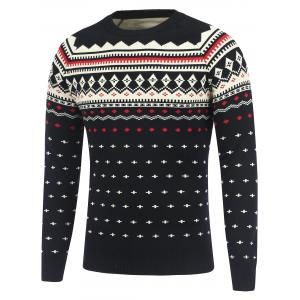 Geometric Pattern Crew Neck Raglan Sleeve Sweater - Black - Xl