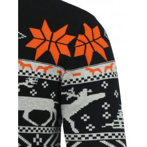 Crew Neck Deerlet Snowflake Christmas Sweater -