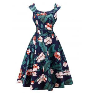 Retro Style Full Flower Print Dress