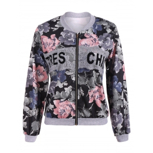 Floral Print Lace Insert Spring Jacket - Black - Xl