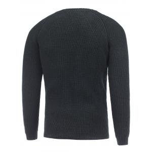 Crew Neck Raglan Sleeve Ribbed Knitted Sweater - BLACK 2XL