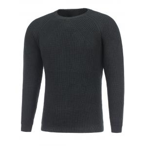 Crew Neck Raglan Sleeve Ribbed Knitted Sweater