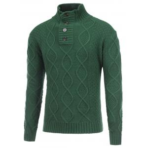 Fisherman Knitted Stand Collar Button Pullover Sweater - Green - M