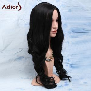 Elegant Natural Look Black Long Heat-Resistant Synthetic Wig For Women -