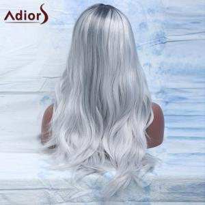Attractive Long Gray Mixed Synthetic Fluffy Natural Wave Adiors Wig For Women - COLORMIX