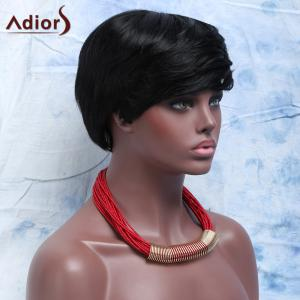 Virile Women's  Short Capless Full Bang Human Hair Wig - JET BLACK