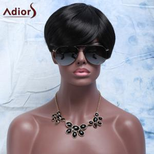 Synthetic Fluffy Full Bang Short Layered Cut Wigs For Women - BLACK