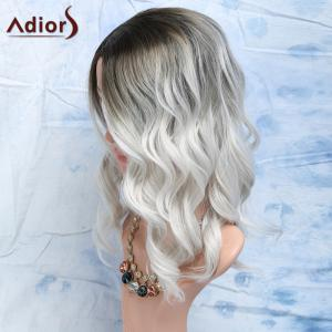 Black Mixed White Side Parting Medium Wavy Women's Fashion Synthetic Hair Wig -