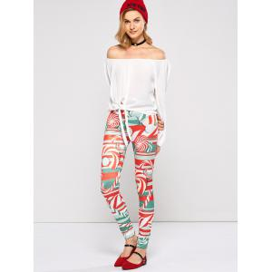 Christmas Lollipops Print Tight Leggings - RED XL