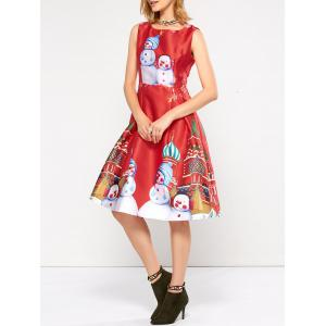 Sleeveless Snowman Christmas Skater Dress