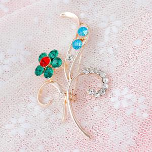 Flower Leaf Rhinestone Brooch - GREEN
