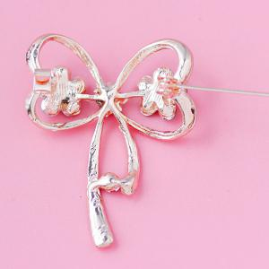 Rhinestone Hollowed Bowknot Brooch -