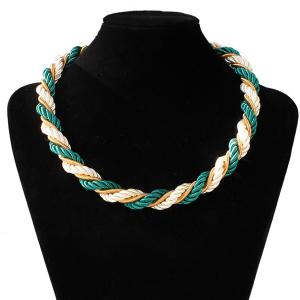 Braided Rope Chain Necklace - Green - Horizontal