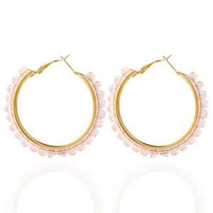 Fake Crystal Bead Hoop Earrings - Pink