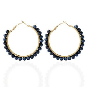 Fake Crystal Bead Hoop Earrings - Purplish Blue
