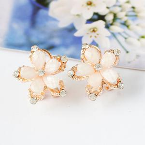 Rhinestone Hollowed Floral Stud Earrings - WHITE
