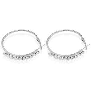 Rhinestone Embossed Hoop Earrings