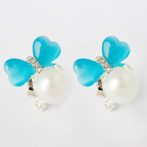 Heart Faux Pearl Stud Earrings