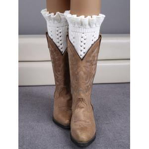 Winter Laciness Knit Boot Cuffs - White - 38