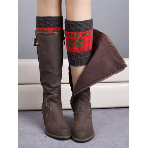 Christmas Snowflake Jacquard Boot Cuffs - Red
