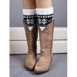 Christmas Snowflake Jacquard Boot Cuffs - White - 38