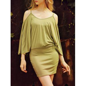 Dolman Sleeve Open Shoulder Mini Dress