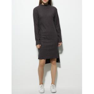 Long Sleeve High Neck Fitted Jumper Dress - Gray - S