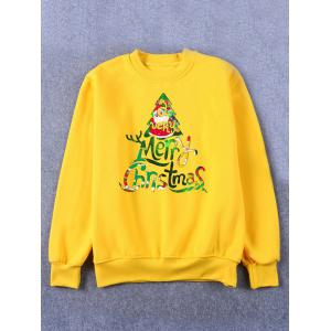 Printed Crew Neck Christmas Yellow Sweatshirt