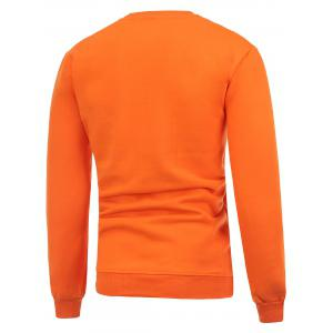 Hat Print Crew Neck Flocking Christmas Orange Sweatshirt - ORANGE 3XL